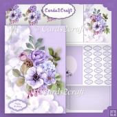 Lilac flowers shaped card set