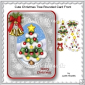 Cute Christmas Tree Rounded Card Front
