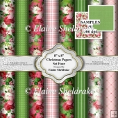 "8"" x 8"" Christmas Backing Papers - Set Four Christmas Floral"