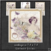 Vintage Flower Lady Creme Card Kit 1301