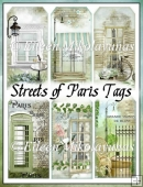 Streets of Paris Collage Scene Tag Set