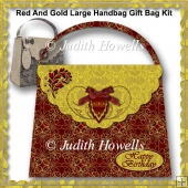 Red And Gold Large Handbag Gift Bag Kit