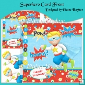 Superhero Card Front with Decoupage