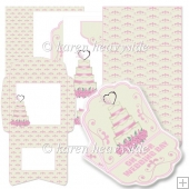 Pink Wedding Cake Shaped Easel Card