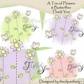 Ready 2 Print Cards A Trio of Flowers THANK YOU(Retiring in July