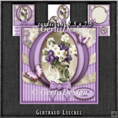 Vintage Flowers With A Bow Purple 1286