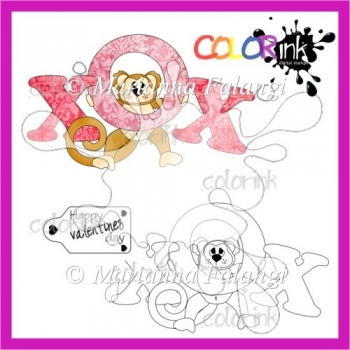 Valentine monkey and sentiment Digi stamp