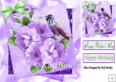 lilac shades of roses with humming bird 8x8