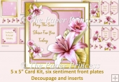 Lily Card with 6 front sentiment tags, decoupage and inserts.
