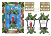 Stained Glass Christmas Lantern 5 x 7 + Greetings in 6 Languages
