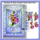 Pansies On Blue Ornate Frame Card Front