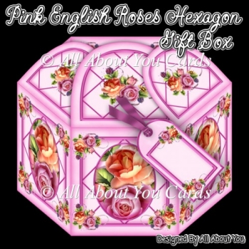 Pink English Roses Hexagon Gift Box