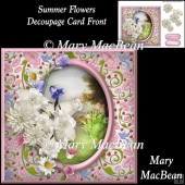 Summer Flowers Decoupage Card Front