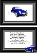 blue retro car in A5 Frame insert
