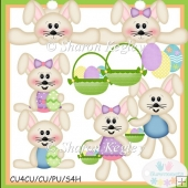Spring Time Bunnies Tan Clip Art