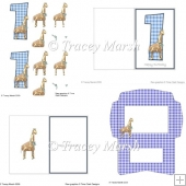 Boy 1st Birthday Giraffe Card Set