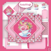 Tea cup and flowers triangle pop up in the middle card set