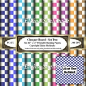 12 x 12 Chequer Board Set Two - - Ten 12 x 12 Printable Sheets