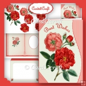 Wavy edge vintage rose card set