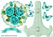 Pretty turq roses on lace with butterflies on a plate & stand