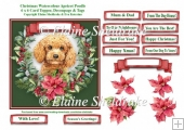 Christmas Poinsettias Watercolour Apricot Poodle Puppy Dog