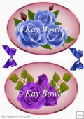 two lovely blue and lilac roses toppers with matching bows