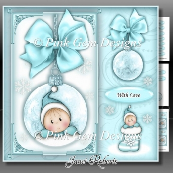 Baby Boy Stocking Bauble Square Mini Kit