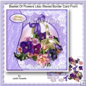 Basket Of Flowers Lilac Waved Border Card Front