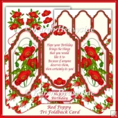 Red Poppy Tri Foldback Card