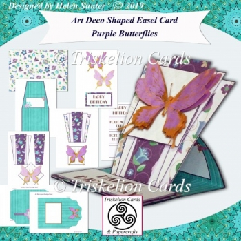 Art Deco Shaped Easel Card & Envelope Purple Butterflies