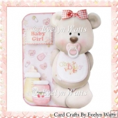 Baby Girl Bear Shaped Fold Card Kit