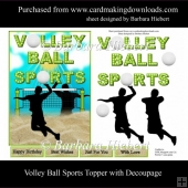 Volley Ball Sports Topper with Decoupage