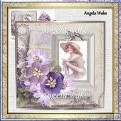 Memories in a letter 7x7 card with decoupage