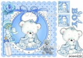 cuddle teddy with blue blanket on bib 8x8