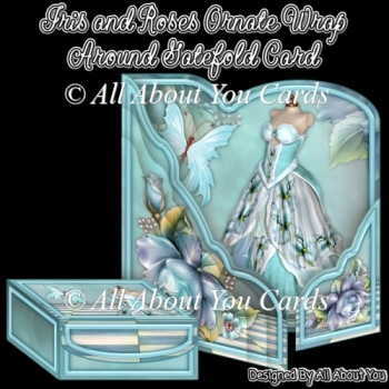 Iris and Roses Ornate Wrap Around Gatefold Card