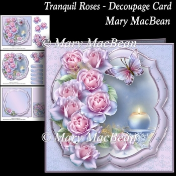 Tranquil Roses Decoupage Card