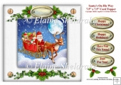 Santa's On His Way - 7.5 x 7.5 Card Topper With Tags