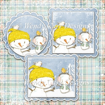 READY TO PRINT TOPPERS VARIETY - SIMPLY SNOWMEN - DARKER BLUE