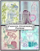 Fashion Ephemera Vintage Background Backing Papers Set
