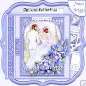 WEDDING DAY BRIDE & GROOM Purple 7.5 Decoupage & Insert Mini Kit