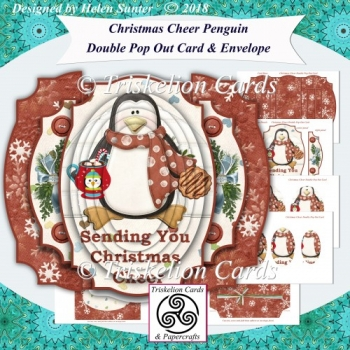 Christmas Cheer Penguin Double Pop Out Card and Envelope Kit