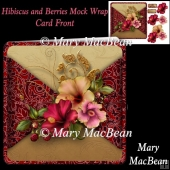 Hibiscus and Berries Mock Wrap Card Front