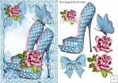 Pretty turq polkadot shoes with roses & butterfly A5