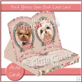 Floral Yorkies Open Book Easel Card with Drawer