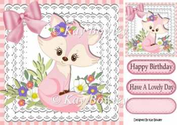 cute little foxy girl with flowers & bow on lace 8x8