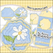 Daisy Scalloped Card, Insert & Envelope