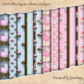 10 Pink n Blue Cupcake Selection A4 Papers