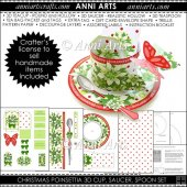 Christmas Poinsettia 3D Cup and Saucer, Spoon, Packets