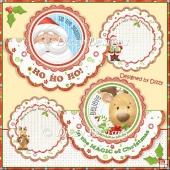 Santa & Rudolph Over the Top Shaped Cards