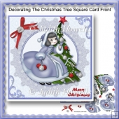 Decorating The Christmas Tree Square Card Front